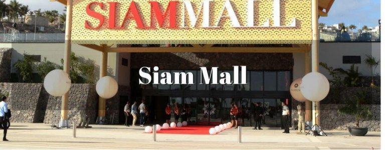 """De Siam Mall is gelegen in Costa Adeje en heeft twee verdiepingen met zeventig winkels in wat zij zelf omschrijven als een """"unieke ruimte met Thaise inspiratie"""". Het  is een open ruimte die probeert te profiteren van het goede weer op het eiland en zijn natuurlijke schoonheid prijst met terrassen, fonteinen, standbeelden en tuinen. Je kunt er van 10.00 uur tot 22.00 uur terecht."""